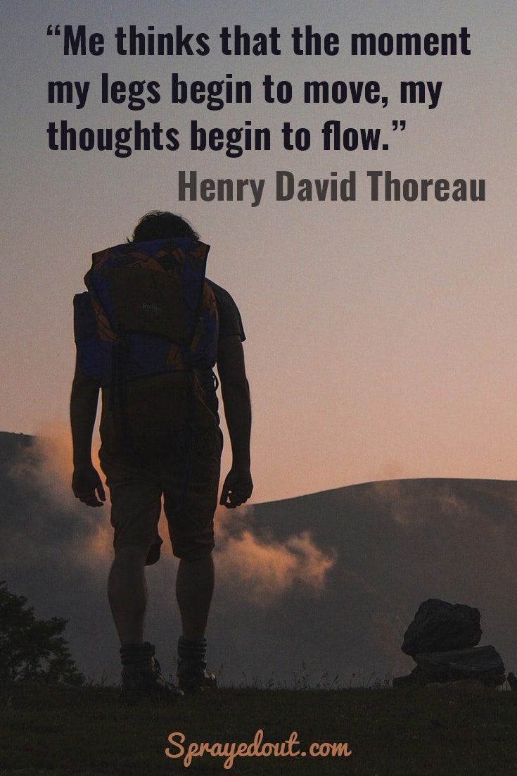 Henry David Thoreau quote about inspiration found in walking.