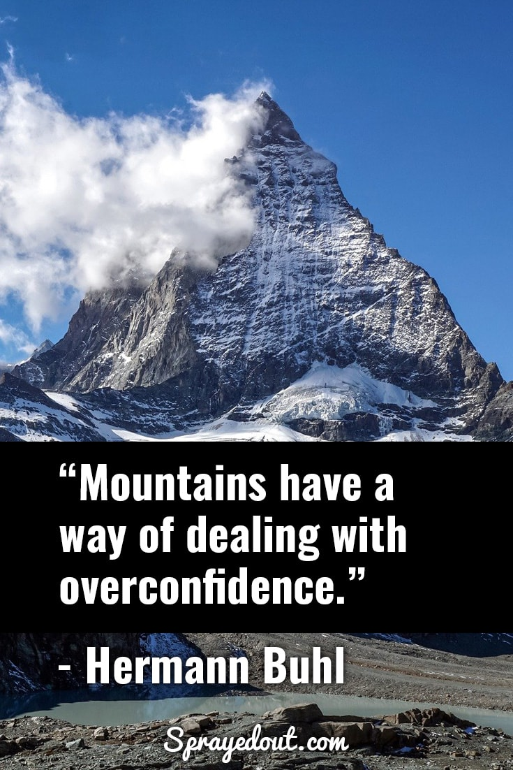 Hermann Buhl quote about mountains and confidence.