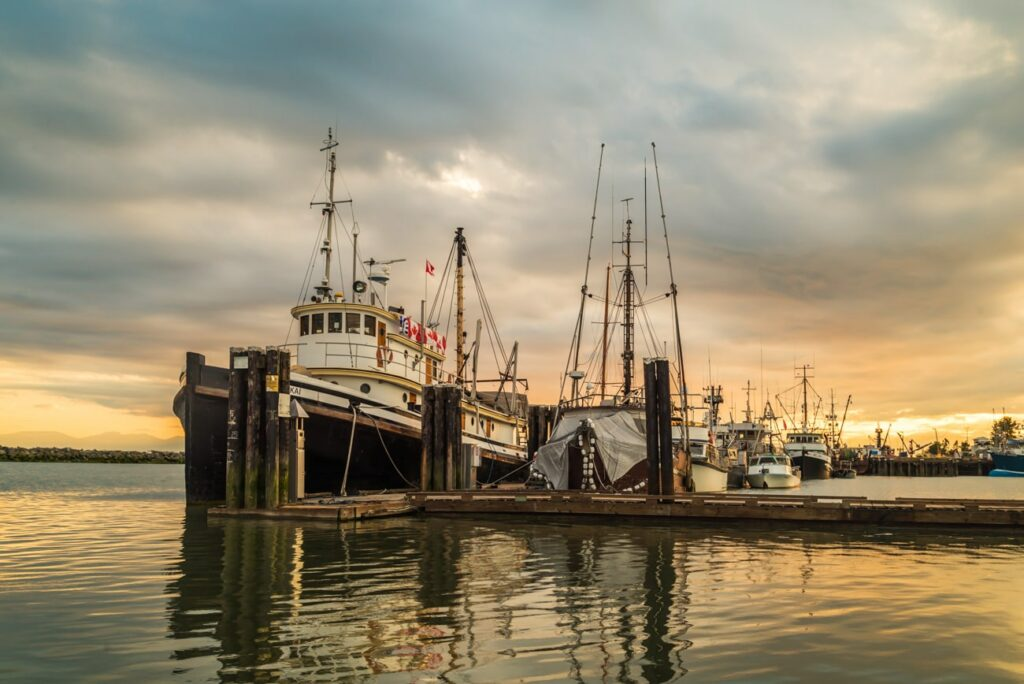 Fishing Boats in Steveston Harbour, Richmond, BC, Canada at sunset covered by cloudy skies.